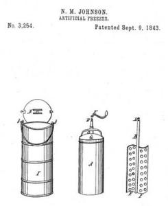 Patente de Nancy M. Johnson, primera máquina de helados